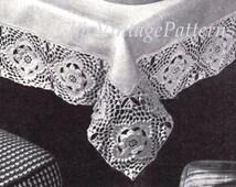 Crochet Tablecloth Edging ... PDF Crochet Pattern ... 1960's Tablecloth Crochet Edging ... Home Decor, Dining, Kitchen ... Vintage Crochet