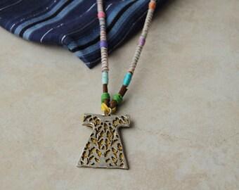 caftan necklace,long necklace,robe necklace,handmade necklace,leather necklace,wrapped necklace,rope-wrapped necklace,fabric necklace