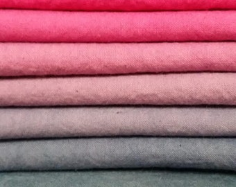 "Hand dyed cotton fat quarters for quilting, gradation of pink to purple-gray, ""Fuschia Shock"""