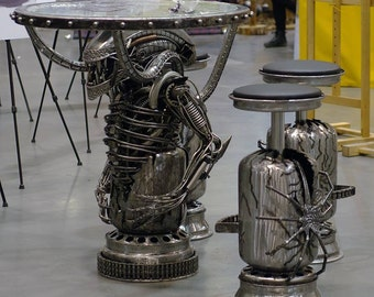 Metal Alien table - glass top + stools , raw steel