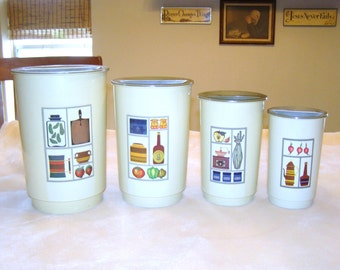 Set Of Four Plastic Canister Set From The 60's, Stackable Canisters, Retro Canister Set