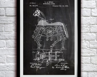 Mechanical Horse 1893 - Children'sDecor - Patent Print Poster Wall Decor - 0067