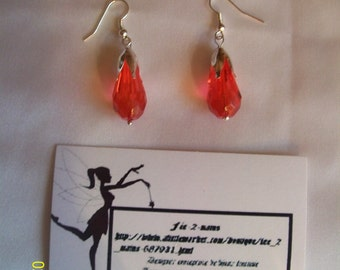 Earrings dangling, red and silver, Crystal, for women