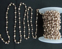 AAA Quality  Copper Pyrite Beaded Chain, Handmade Rosary chains Pyrite Natural, Pink Pyrite beads Wire Wrapped Rose Gold 3mm-sold per FOOT