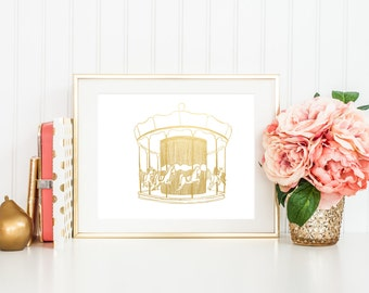 SALE** Gold Foil Carousel Print (8x10 or 5x7)