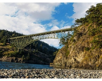 Deception Pass Bridge -  Washington -  Great Outdoors -  Sky - Trees - Home Decor - Wall Art - Fine Art Landscape - Photo Print