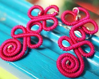 UNIQUE Mexican Fuchsia Thread Earrings from Oaxaca Mexico