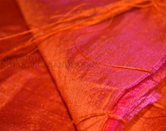 Pure dupioni silk fabric - Iridescent Hot Pink and Orange - By Half Yard
