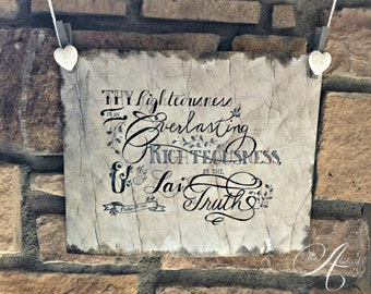 Everlasting Righteousness Art Print / Hand Lettering / Scripture Art / Bible Calligraphy / Gift / Psalm