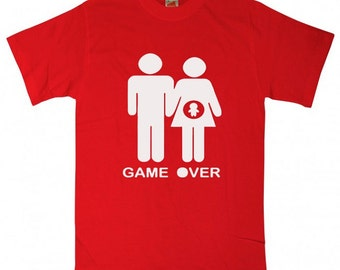 Game over t shirt pregnant shirt funny gift fornew dad for girlfriend ladies men women T-Shirt Tee shirt