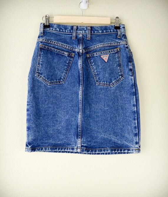 vintage guess jean skirt pencil skirt denim skirt 28 inch