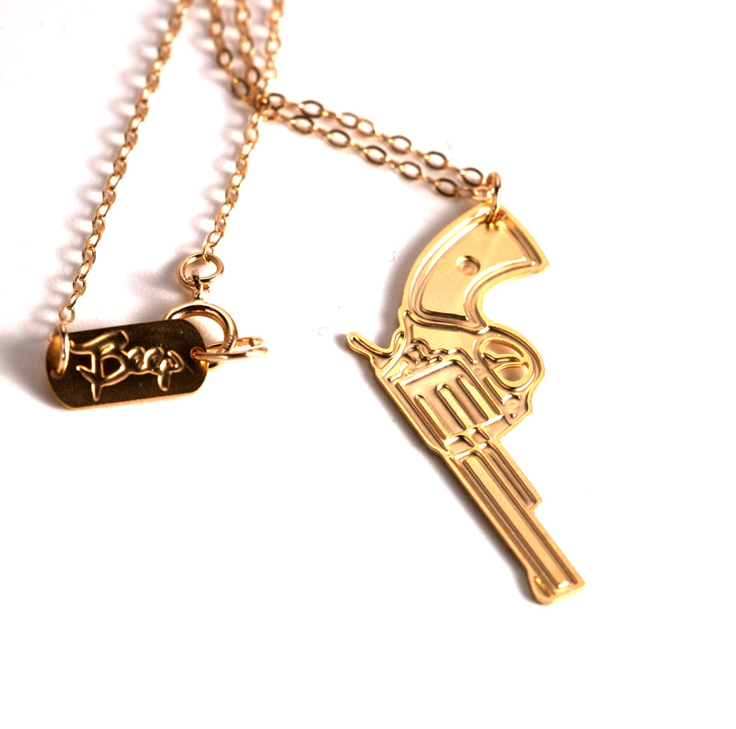 gun necklace gold filled necklace gun icon jewelry by