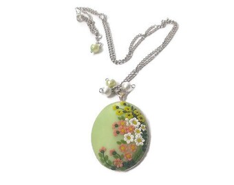 Summer meadow. Pendant made of polymer clay. Handmade. Free Shipping