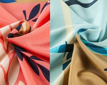 Two color silk blends cotton fabric, olive branch patterns, printed fabric, sew for dress, scarf, craft by 112cm*78 cm