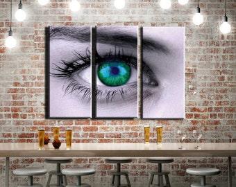 "Green Blue Eyeball 42 x 30"" Framed Huge 3-Panel Canvas Gallery Wrap"