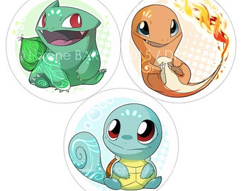 Button Pokemon Bulbasaur / Charmander / Squirtle