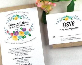 Floral Watercolor Wedding Invitation Sample