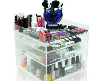 Acrylic Makeup Organizer, 3 Drawers, Clear, Cosmetic Cube Case, Box w/ Dividers & Top Tray