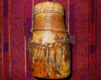 SALE: Turkana or Massai Tribal Food Container Wood and Camel Skin Kenya, African