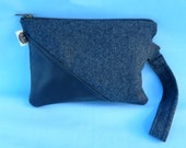 Charcoal Grey Wool and Leather Zippered Wristlet