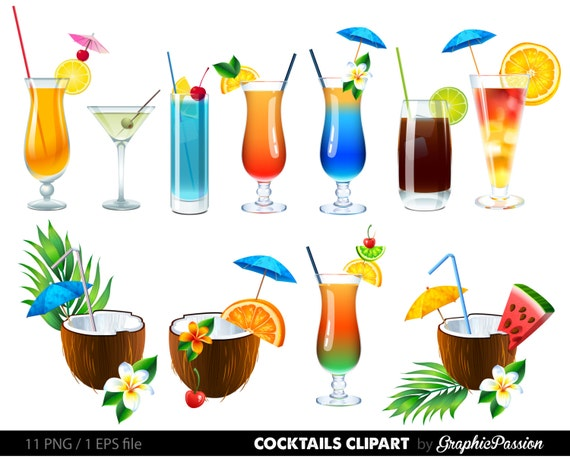 SALE Summer Cocktails Clipart Cocktail Clip Art Drinks Vector Digital