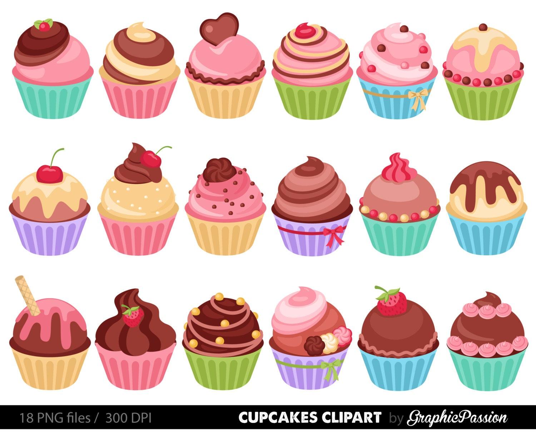 Clipart De Cupcake : Cupcakes Clipart digitale Kuchen Clip Kunst Kuchen digitale