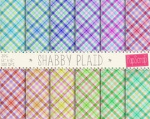 "Plaid digital paper : ""Shabby Plaid"" tartan digital paper in colorful, rainbow colors in shabby chic style, vintage plaid paper, decoupage"