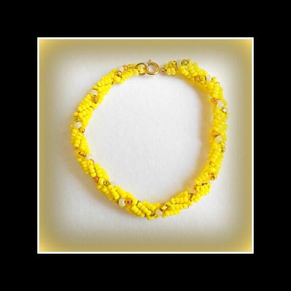 woven spiral yellow seed bead bracelet