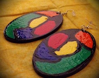 Hand painted colorful earrings