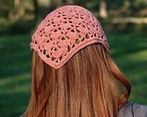 Head Kerchief, Crochet Hair Bandana, Crochet Lace Headband, Hair Accessory, Triangle Headband for Girl Teen Young or Woman, Head Covering