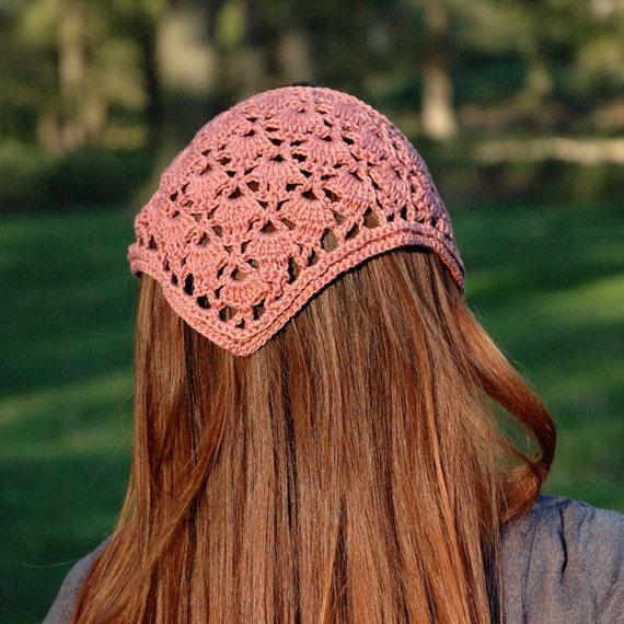 Crochet Hair Kerchief : Head Kerchief, Crochet Hair Bandana, Crochet Lace Headband, Hair ...