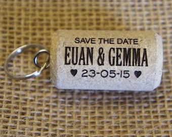 """Personalised engraved """"Save the Date"""" Cork Keyrings"""" - Sold as bags of 20 cork keyrings (20 being the minimum order)"""
