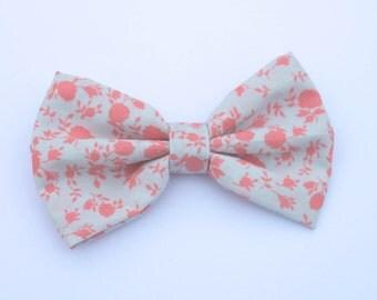 Hair Bow - Pink Floral Hair Bow - Clip In Hair Bow - Girls Hair Bow