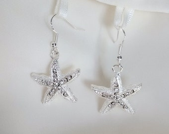 Starfish Earrings - Silver Crystal Star Fish Earrings-