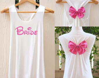 BRIDE Bow Tank Top. Racerback bow. Bride shirt. Tank Top. Bridal Tank Top. Bachelorette Party Tank Tops. Work out tank top.
