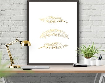 Feather Art Poster Printable Art Gold Feather Home Decor Office Decor Wall Poster Instant Download  Gold Poster 8x10 16x20 22x28
