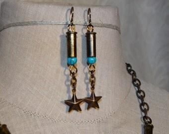 Bullet Star Earrings - .22 Caliber Bullet Casings - Blue or green beads
