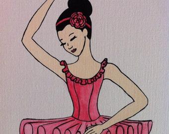 Rose Ballerina Painting