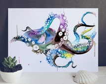 Octopus Watercolor painting - Art Print - Illustration - Animal wall art - Sea - ocean poster