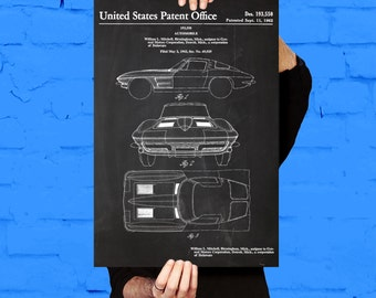 Corvette Stingray Car Poster, Corvette Stingray Patent, Corvette Stingray Blueprint, Corvette Stingray Print, Corvette Stingray Art