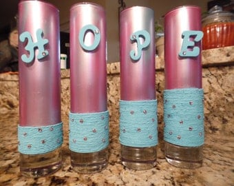 Hope hand  painted glass flutes