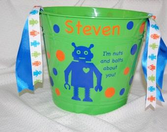 Personalized Valentine's Robot Plastic Bucket