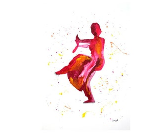 Indian Classical dance, Colorful Indian Painting, Indian Dance art print from original acrylic painting, Modern Art, Wall Decor, Home Decor