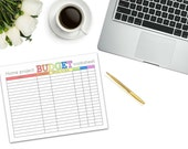 Home Budget Printable | instant download | digital download | shopping printable | shopping list | budget shopping list