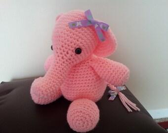 Amigurumi crochet pink elephant