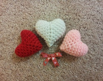 Amigurumi crochet stuffed sweet hearts, set of three, red, pink, white
