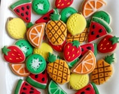 "Fruits mini sugar cookies or large 3.5"" with royal icing, strawberries, lemon,lime,kiwi,watermelon,pineapple"