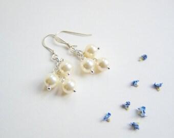 Pearl Earrings, Sterling Silver Pearl Earrings, Wedding Earrings