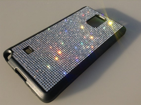 Galaxy Note 4 Clear Diamond Rhinestone Crystals on Black Rubber Case. Velvet/Silk Pouch Bag Included, Genuine Rangsee Crystal Cases