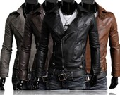 Men's Slim Autumn Winter Designed Sexy Faux Leather Biker Jacket Inclined Zipper